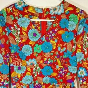 Vintage Long Maxi Flower Power Dress Boho Hippie